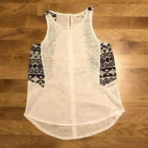 White Racerback tank with Geometric detail